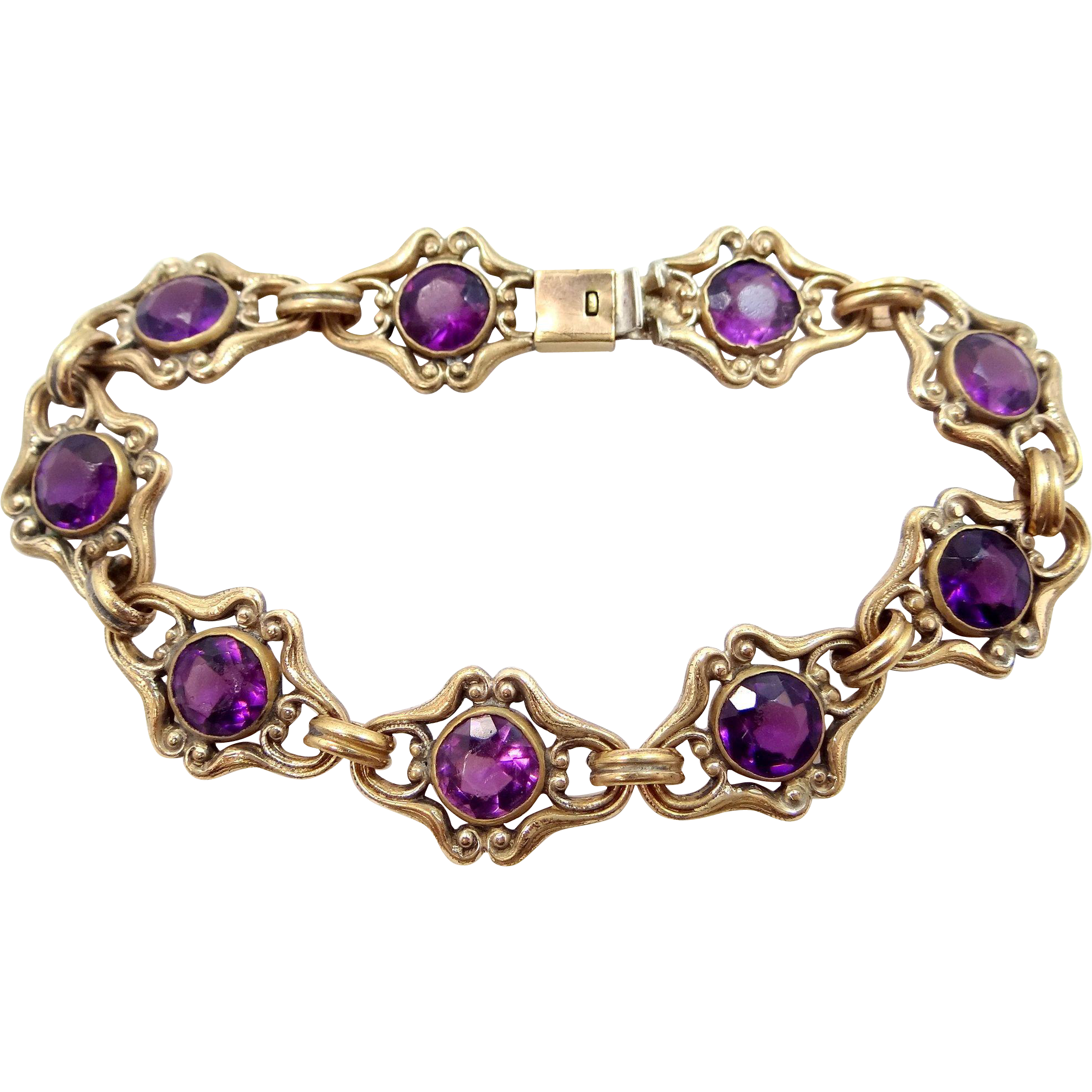 Art Nouveau Gold Filled Amethyst Glass Bracelet