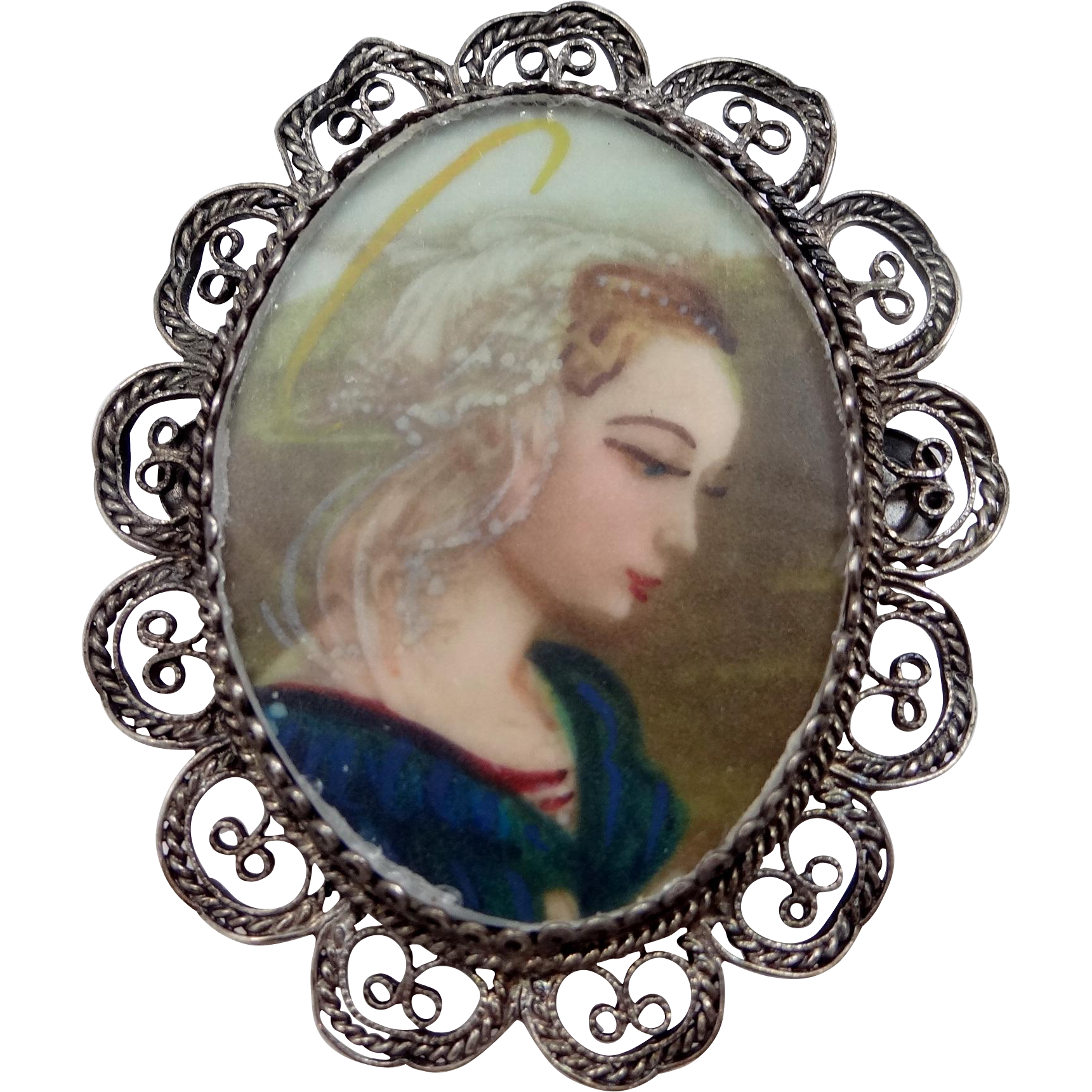 Vintage 800 Silver Filigree Hand Painted Pin / Pendant