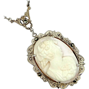 1920s Sterling Silver, Marcasites and Coral Cameo Necklace