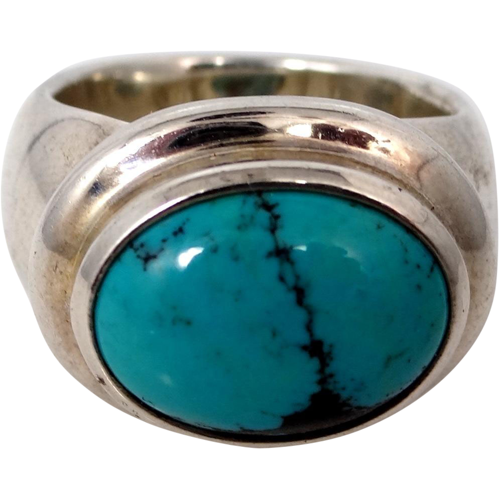 ESPO Sterling Silver and Turquoise Size 9 1/4 Ring