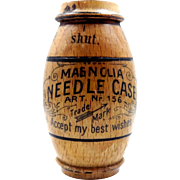 Wood Victorian Era Magnolia Needle Case Made in Germany