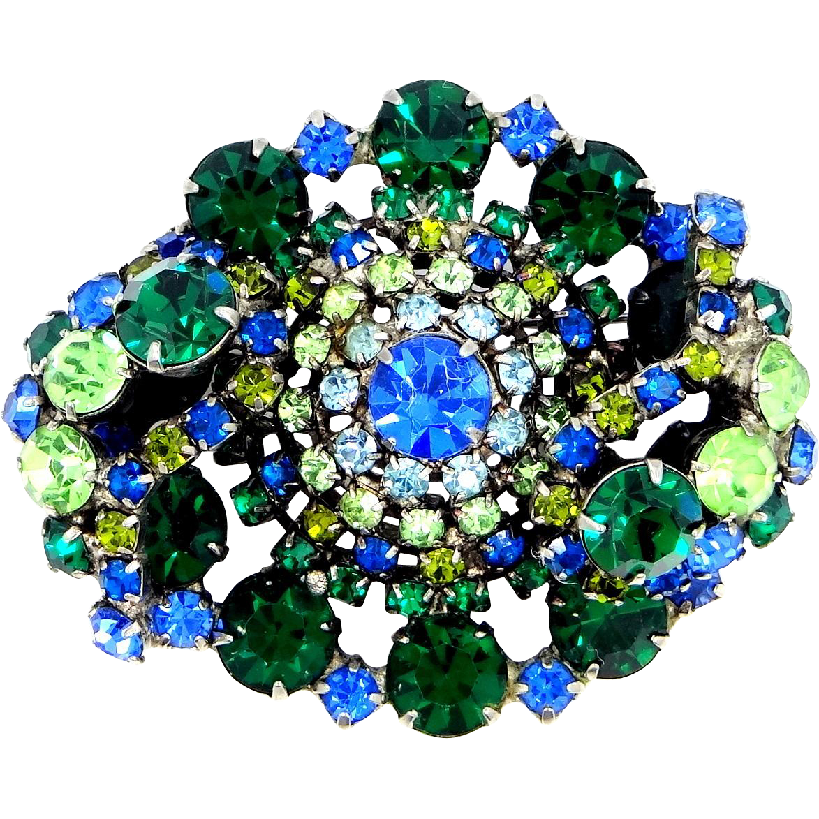 1950's Green and Blue Layered Rhinestone Pin