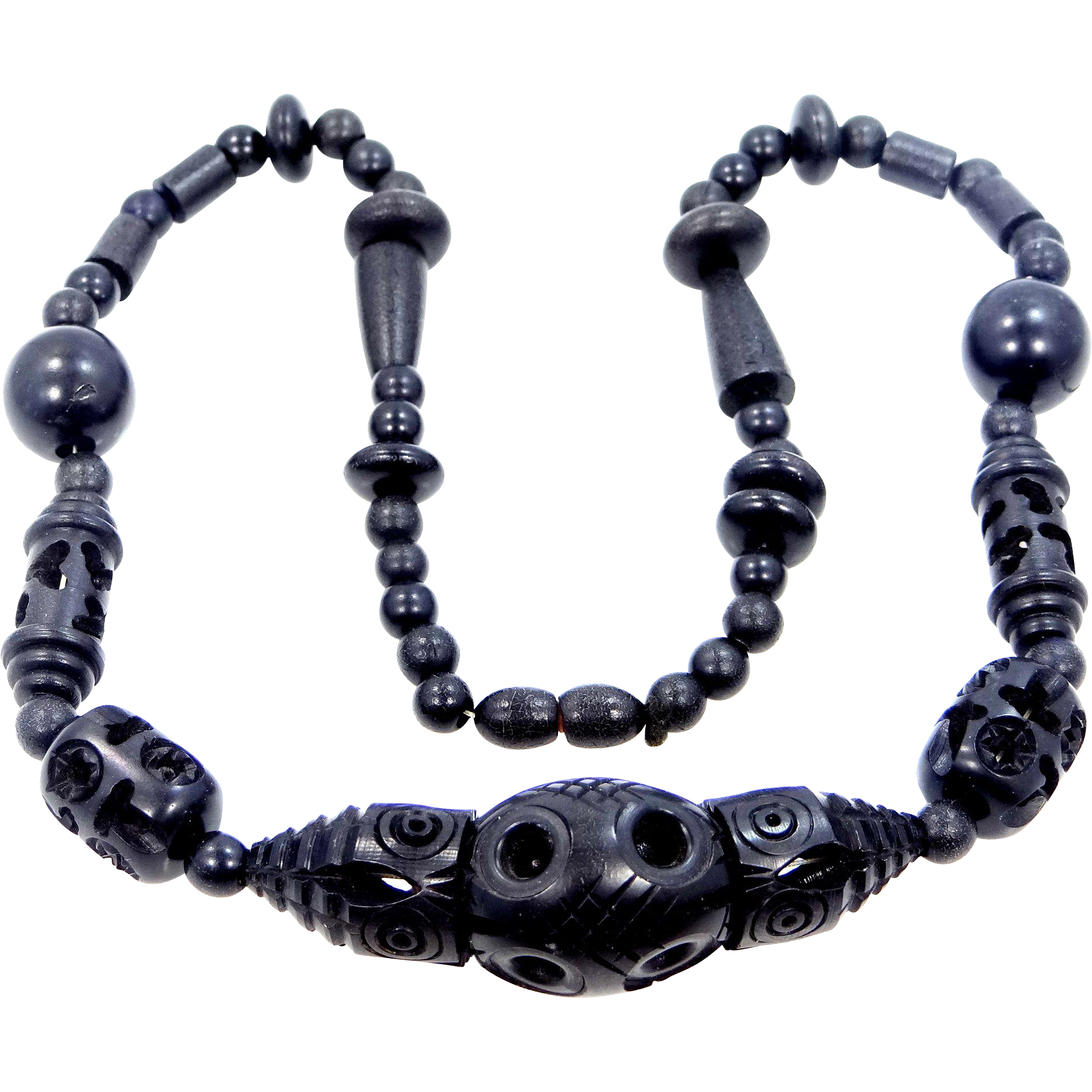 Ebony Black Carved and Pierced Wood Mourning Necklace