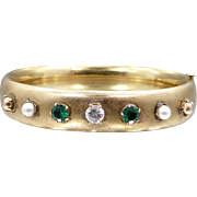 Carl Art 1930s Jeweled Bangle Bracelet