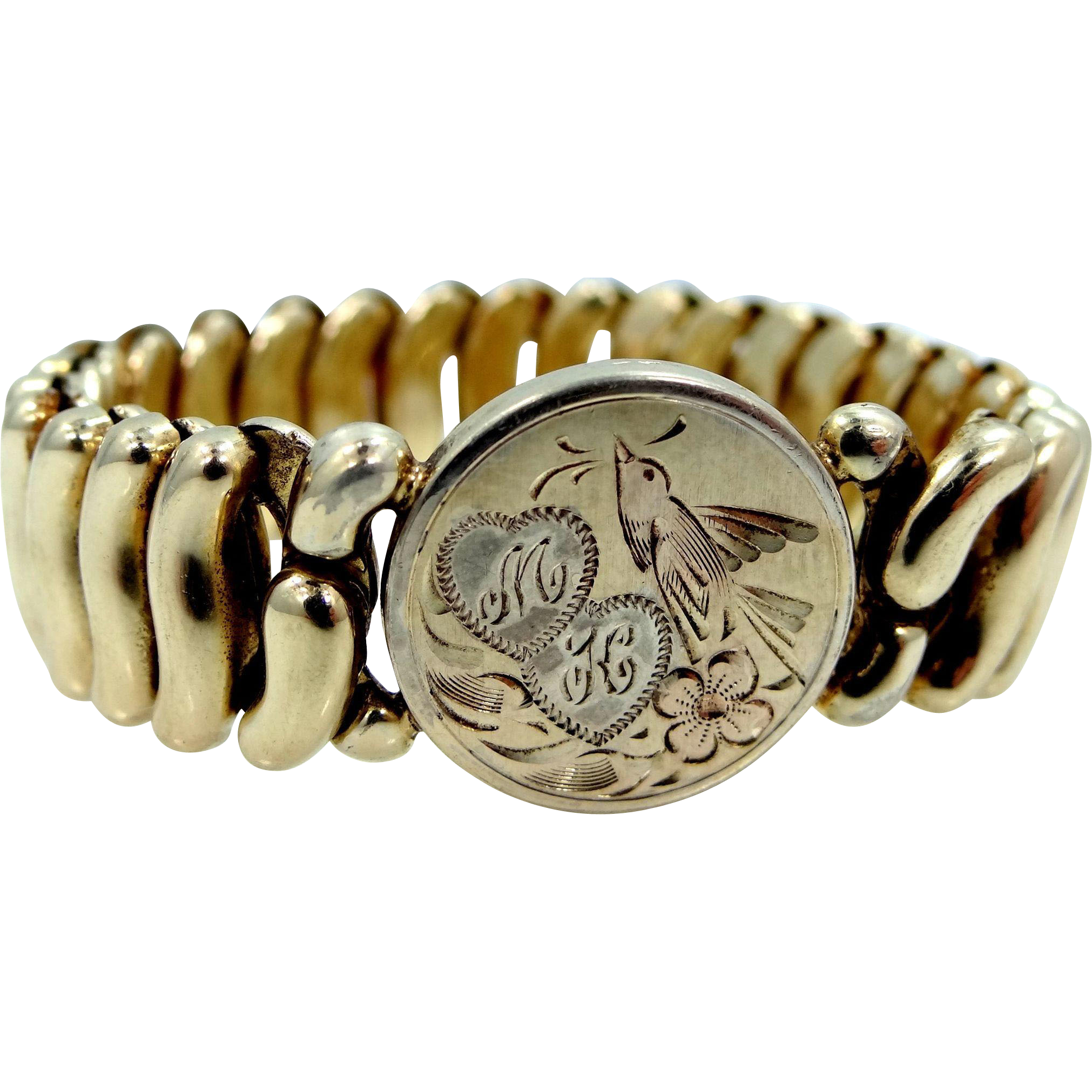 S.O. Bigney Victorian Bracelet with Rose Gold Bird & Floral Motif