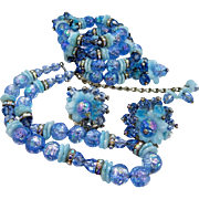 Hobe Signed Parure Blue Glass Beads and Flowers Bracelet, Necklace, Earrings