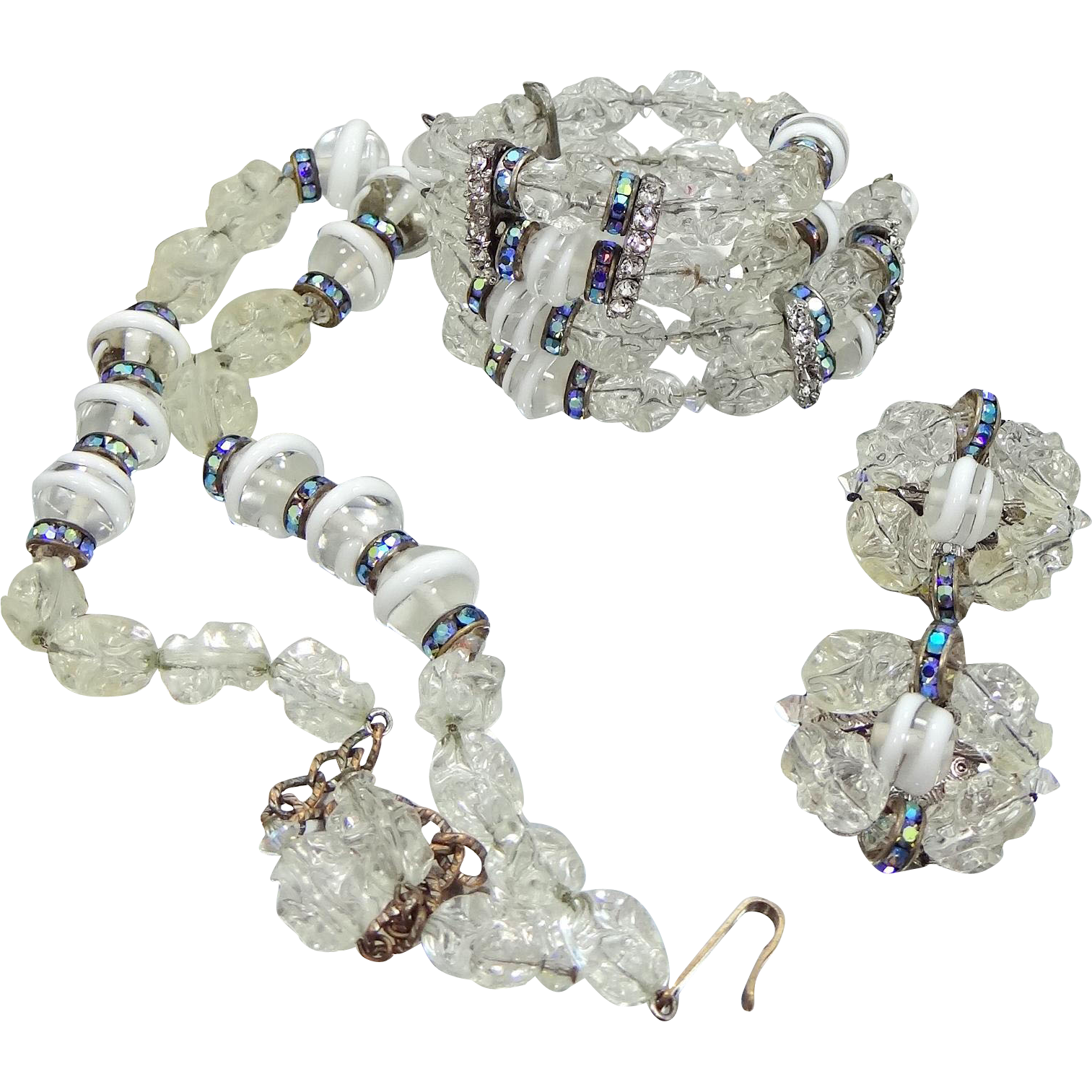 Hobe Parure Glass and Lucite Beads Bracelet, Necklace, Earrings