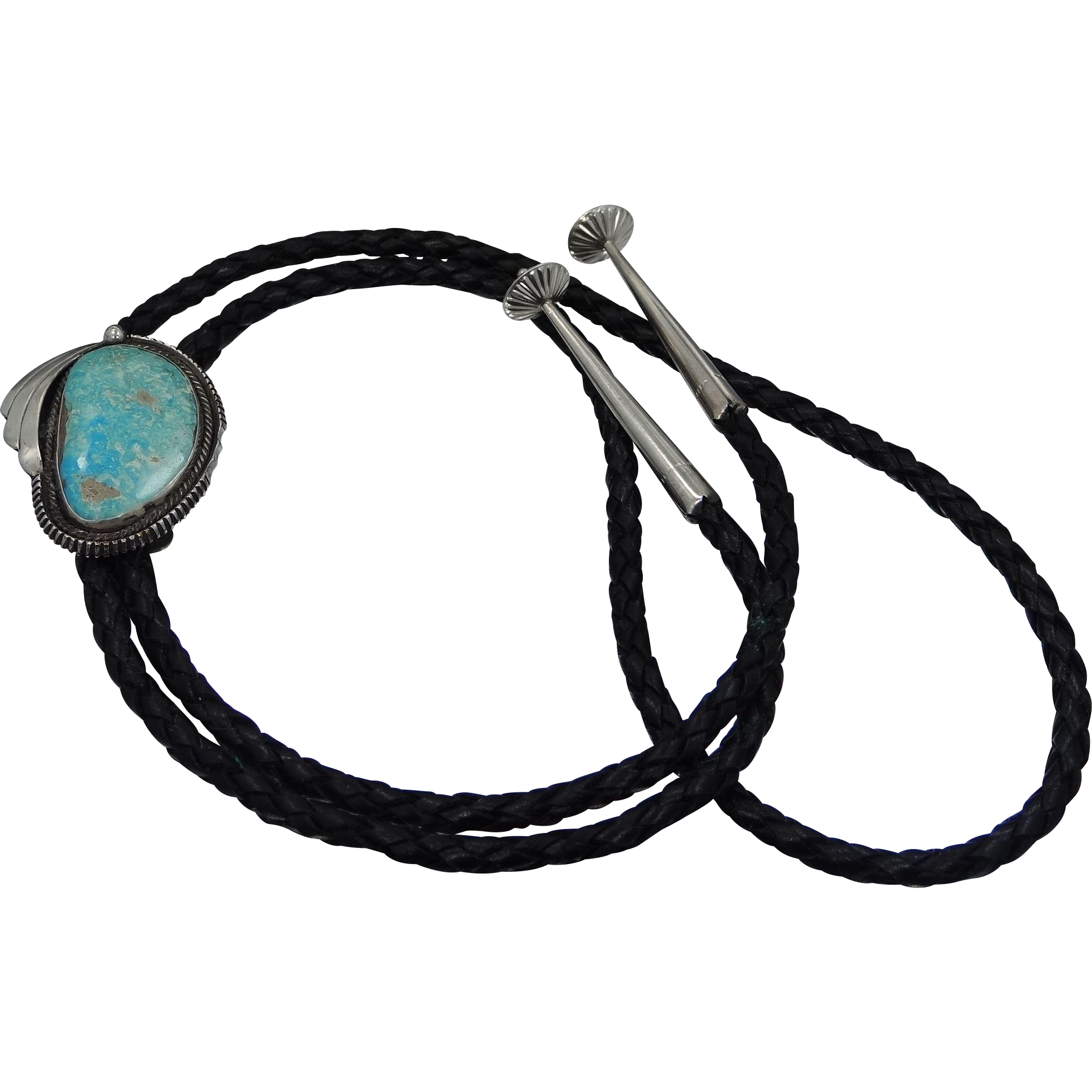 Jason Livingston Navajo Sterling Silver and Turquoise Bolo Tie
