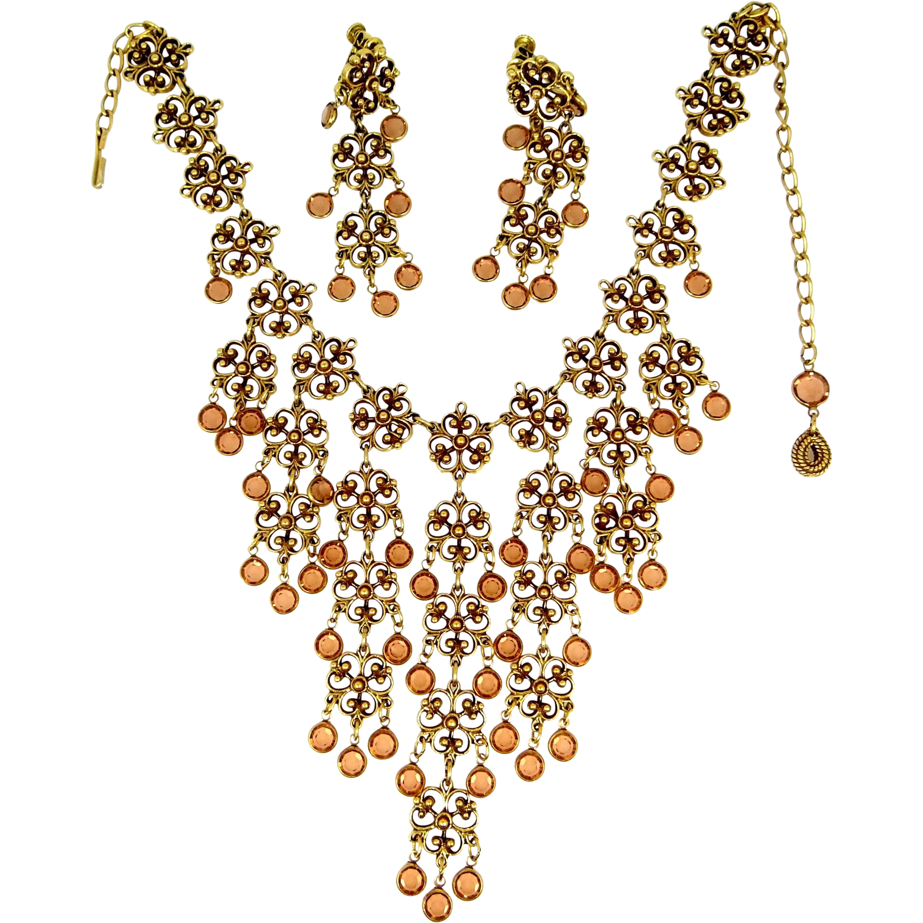 Goldette HUGE Bib Necklace and Matching Earrings