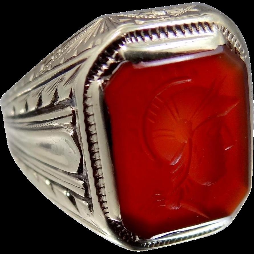 Victorian 10k Gold Intaglio Carnelian Roman Soldier Ring