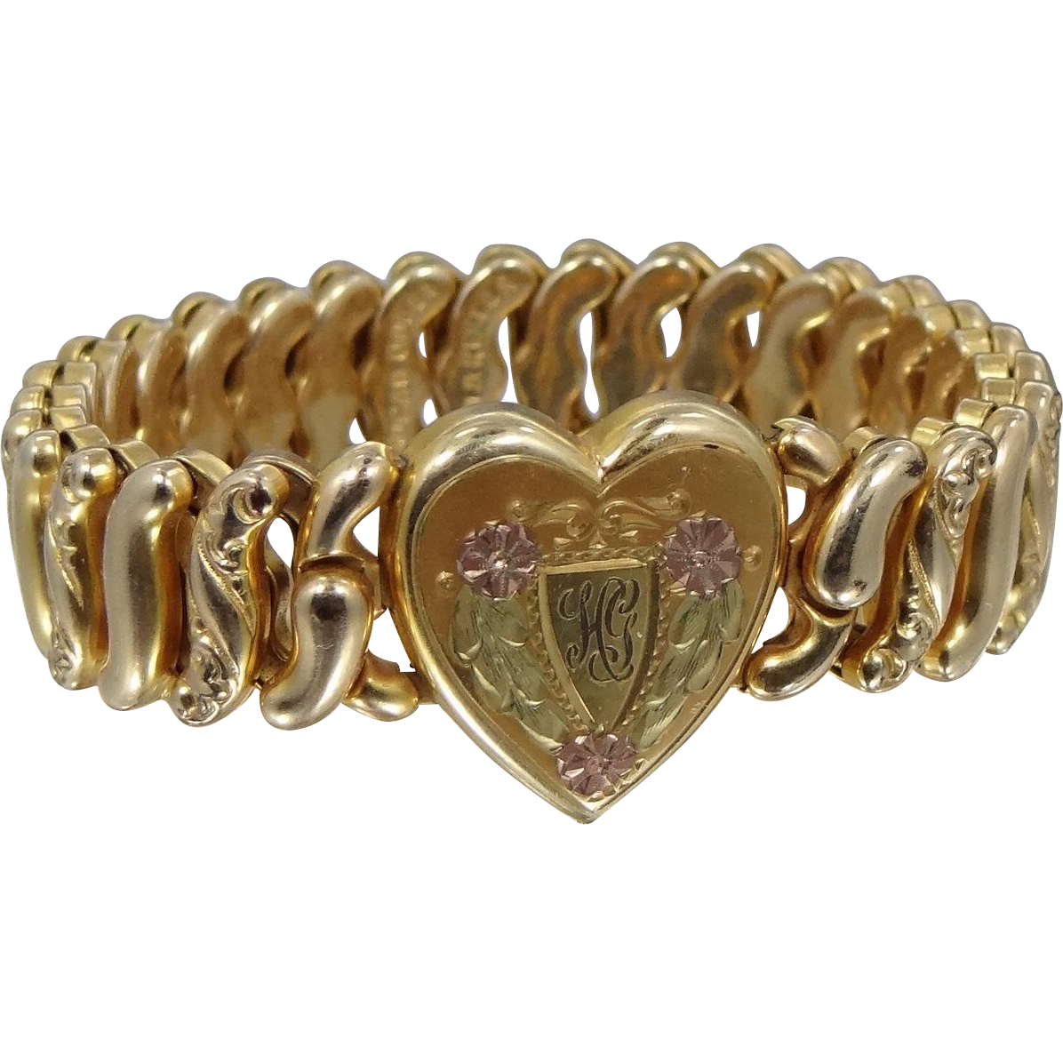 American Queen Tri Color Gold Trim Heart Shape Stretch Bracelet Early 1900's
