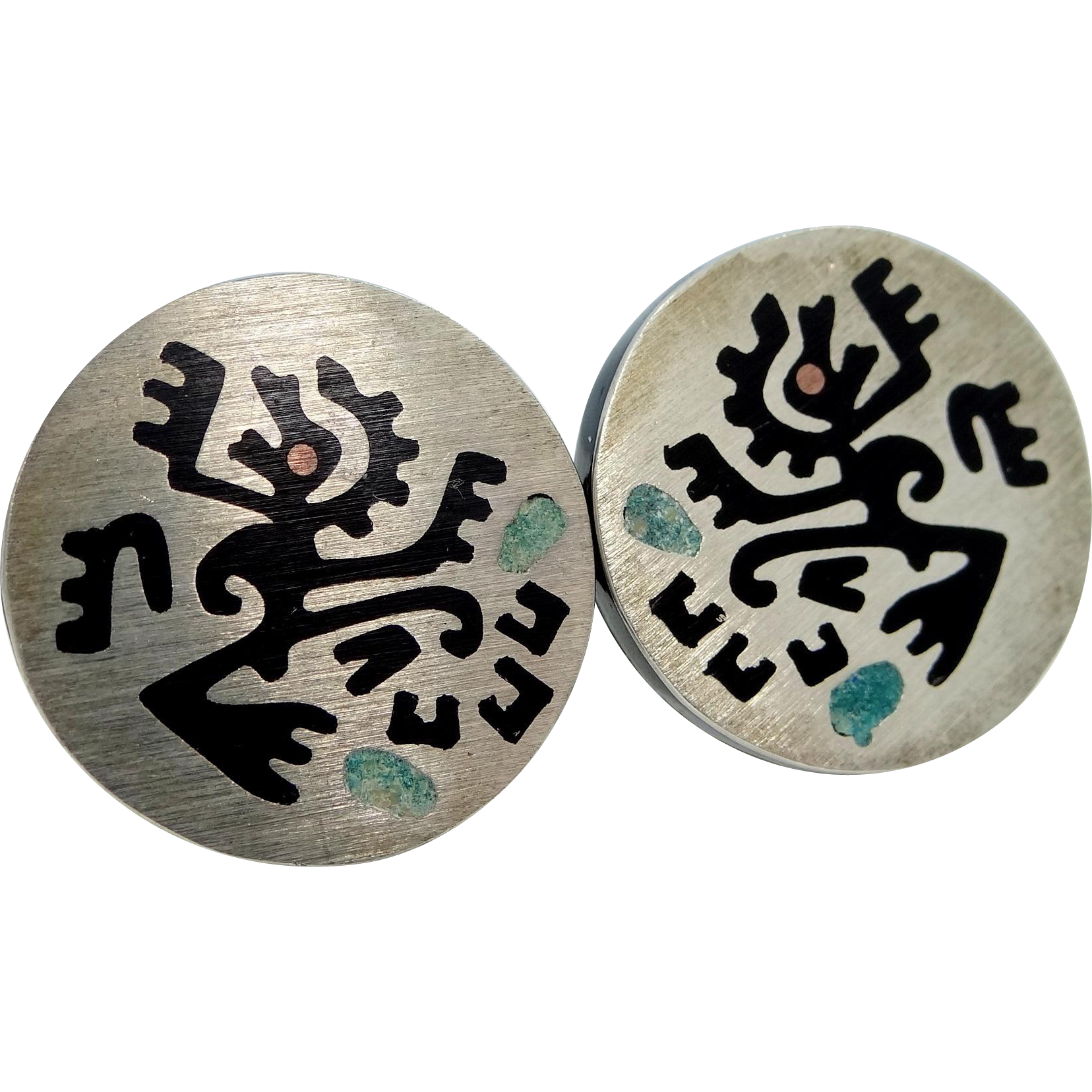 1960s Mexico Sterling and Enamel Cufflinks Cuff Links