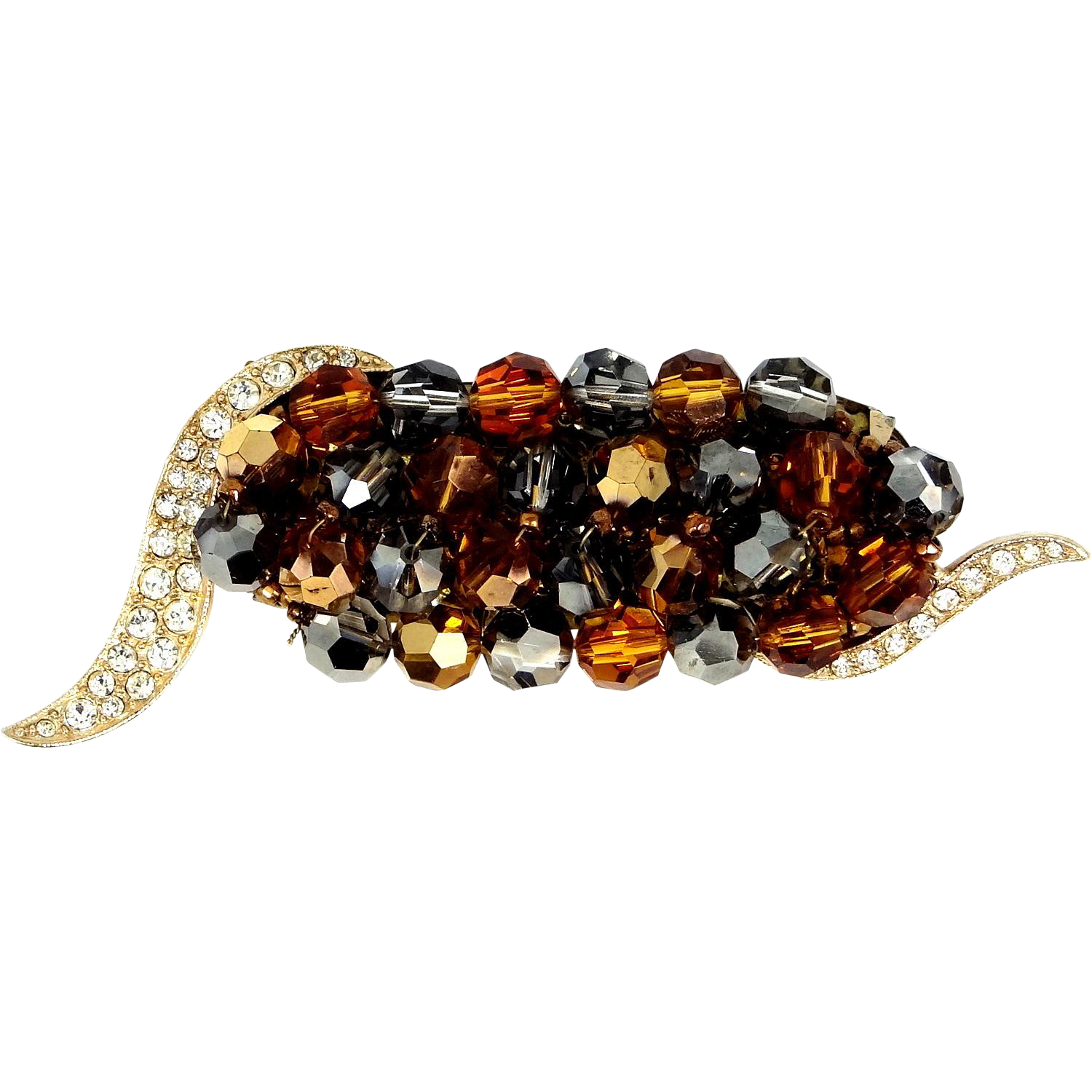 Marvella Bronze and Topaz Glass Beads Pin