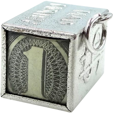 Vintage Sterling Mad Money Dollar Bill Charm