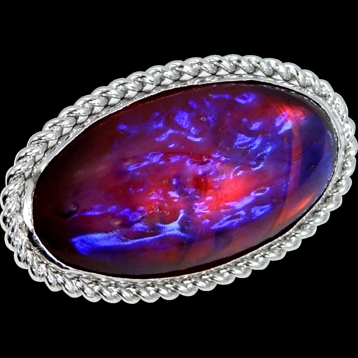 Dragon's Breath Fire Opal STERLING Silver Pin