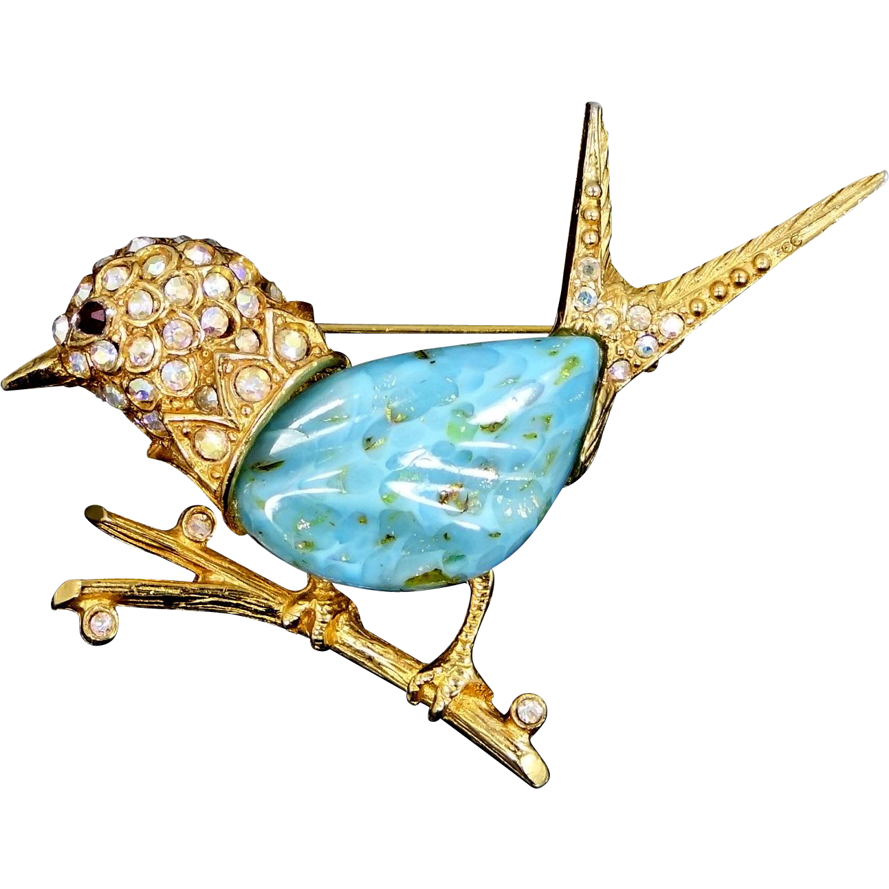 JEANNE Figural Bird Pin with Faux Turquoise Body and Crystals