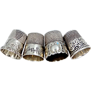 4 Vintage Sterling Silver Thimbles Simons and Ketcham McDougall