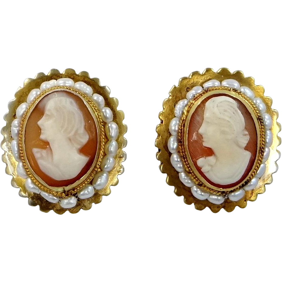 800 Silver Vermeil Carved Shell Cameo and Freshwater Pearls Clip on Earrings