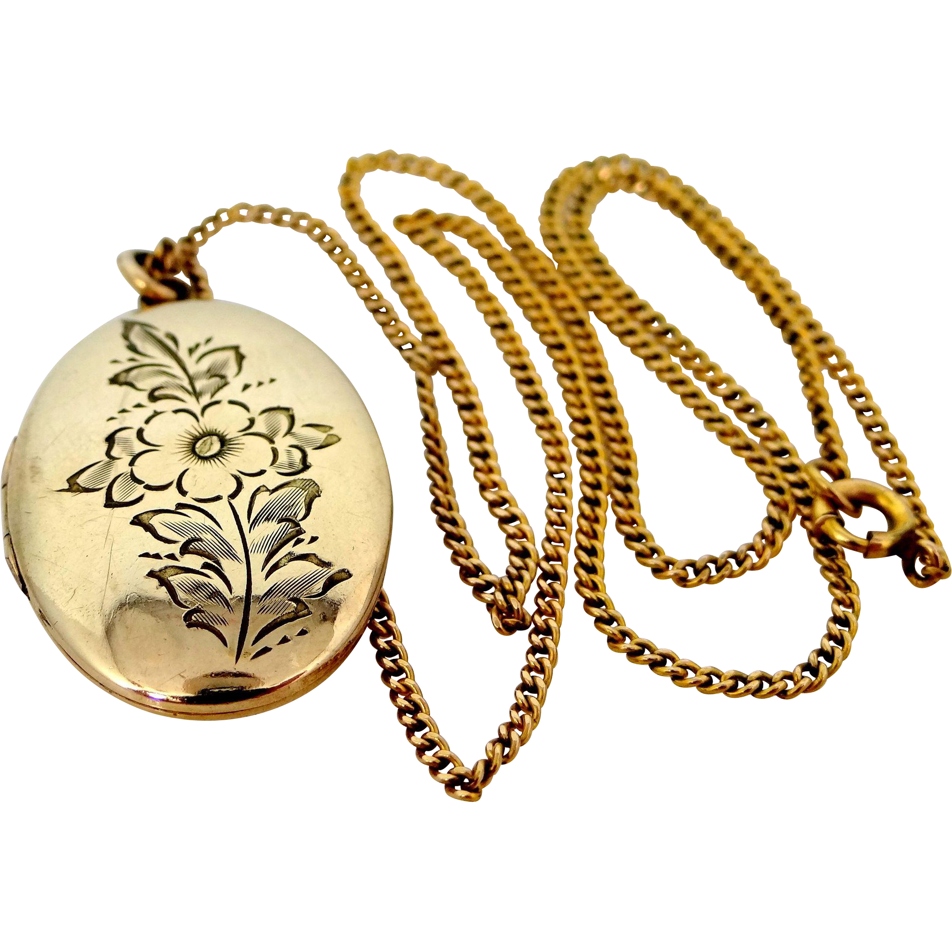 Vintage Floral Gold Filled Locket and Original Chain