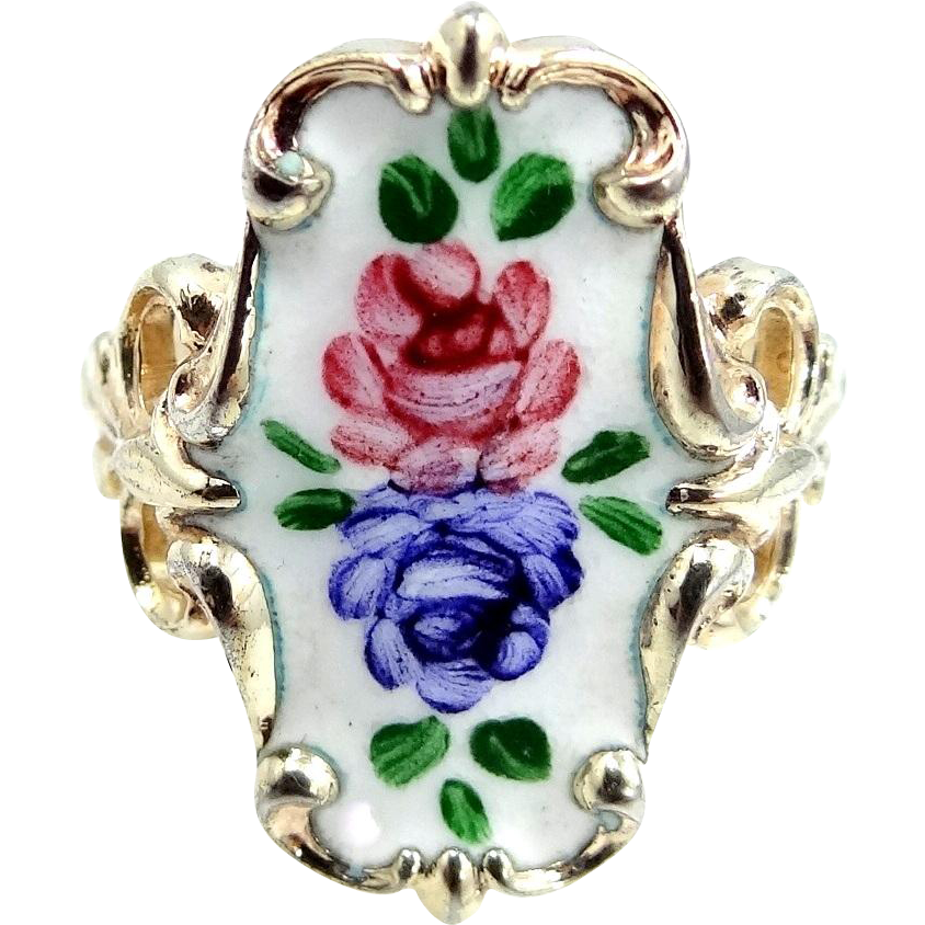 Pretty 2 Tone Sterling Silver and Enamel Floral Ring