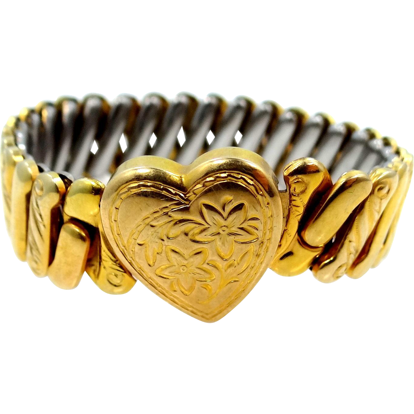 Pretty WWII Era Gold Filled Heart Motif Bracelet