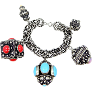 HUGE Etruscan Style Victorian Revival Charm Braclet with 2 Locket Charms