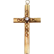 14k Gold and 15 Point Solitaire Diamond Victorian Cross Pendant