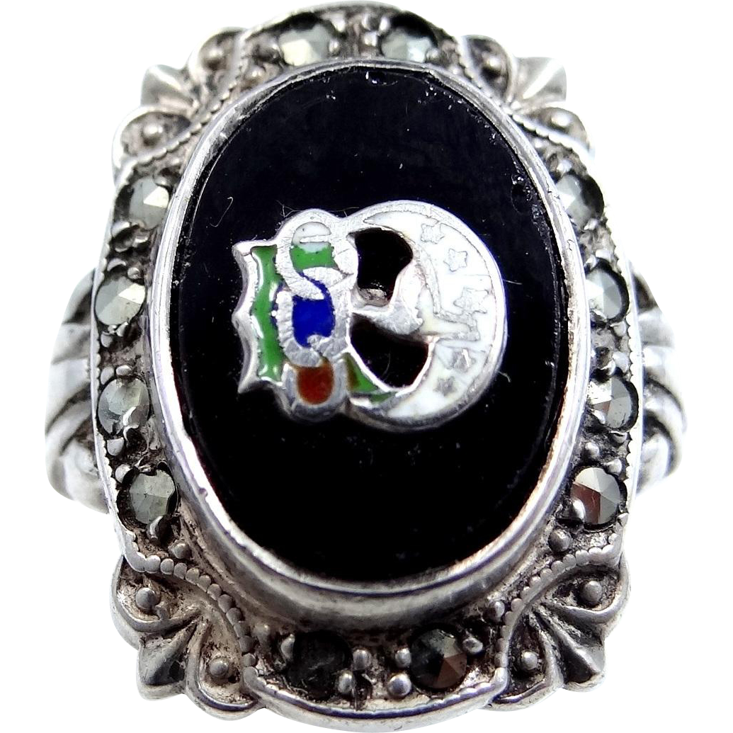 Daughters of Rebekah Uncas Sterling Silver Art Deco Marcasites Ring