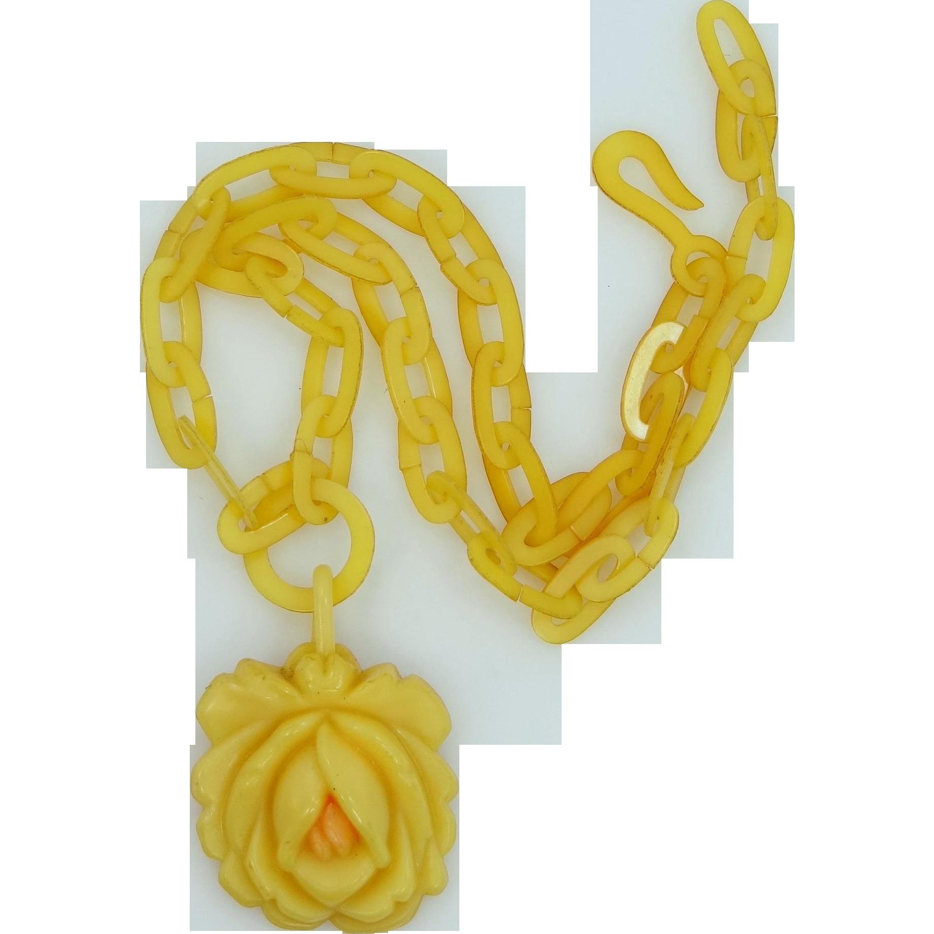 1920's Celluloid Figural Rose Butterscotch Necklace