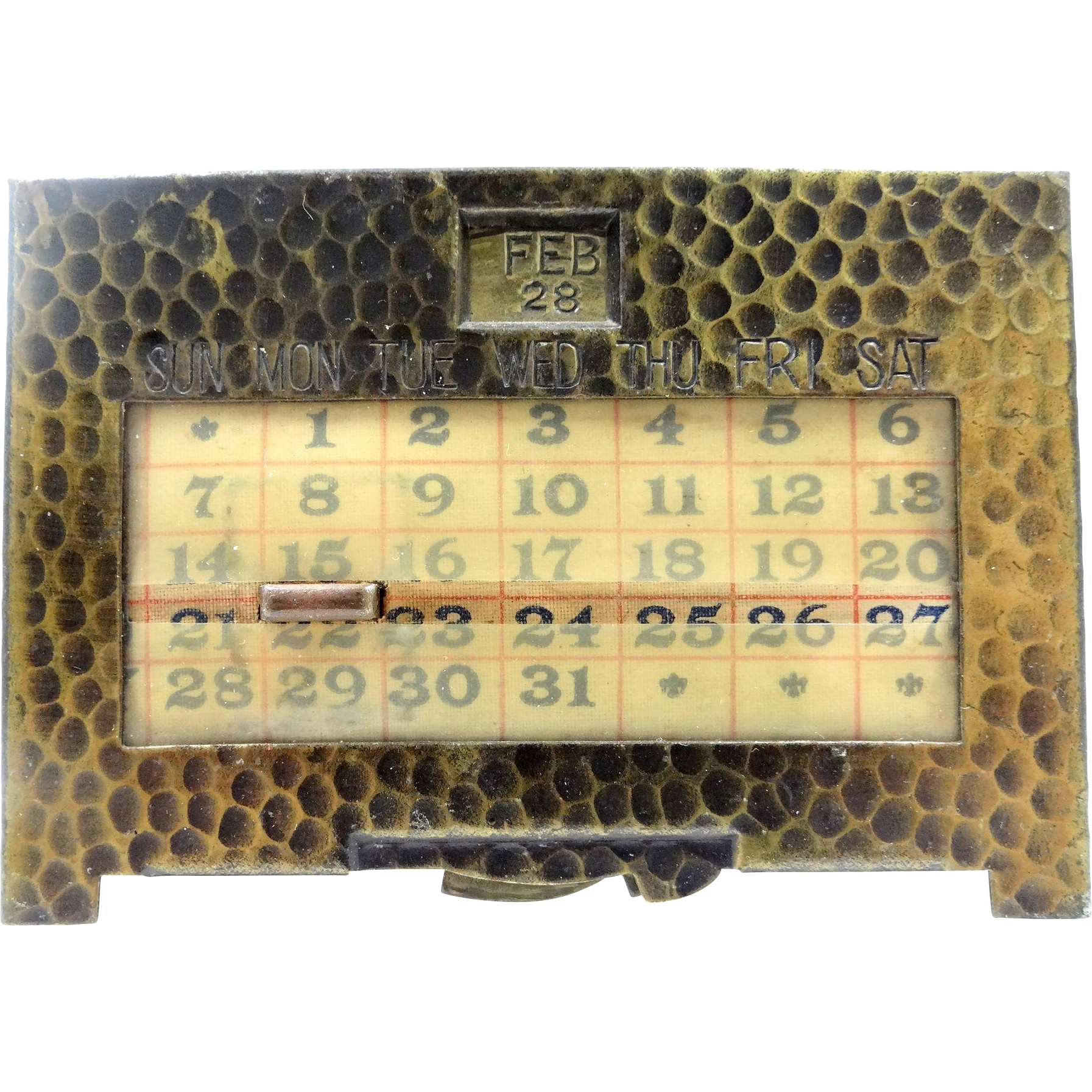Vintage K&C Co.  Kronheimer & Oldenbusch Co. Gilt Bronze Colored Brass Perpetual Calendar