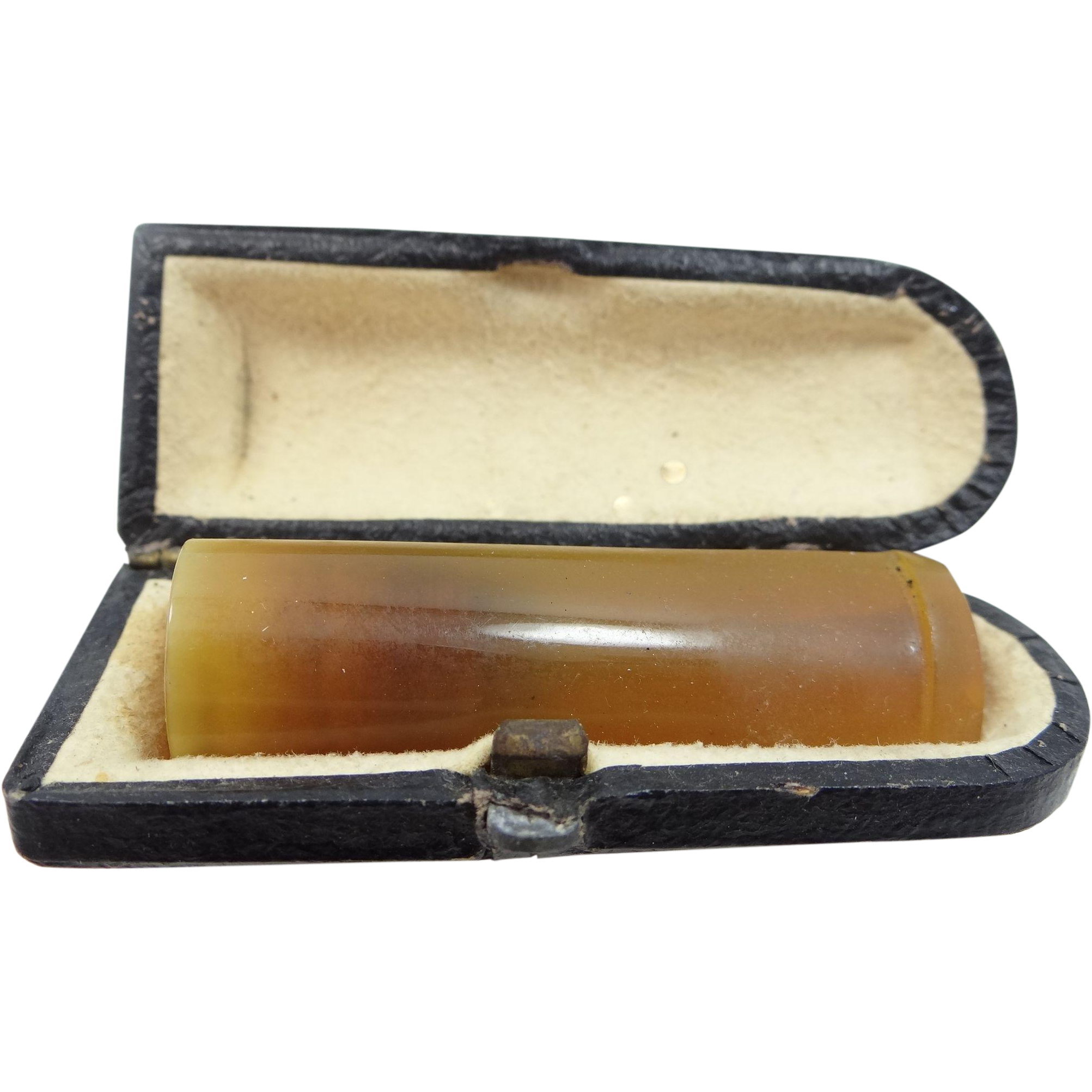 Cheroot Genuine Amber Cigarette Holder In Original Fitted Box