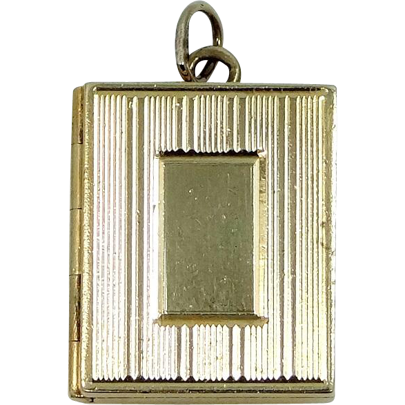 14k Solid Gold Book Shape Multi Compartment Locket Pendant Charm