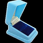 Art Deco Blue Ribbed Hard Plastic Jeweler's Ring Box