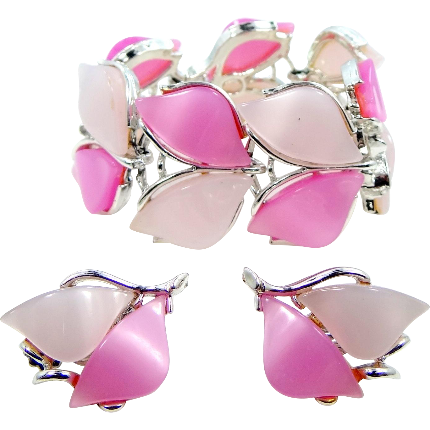 Springtime Colors Pink Thermoplastic 1960s Bracelet and Matching Earrings