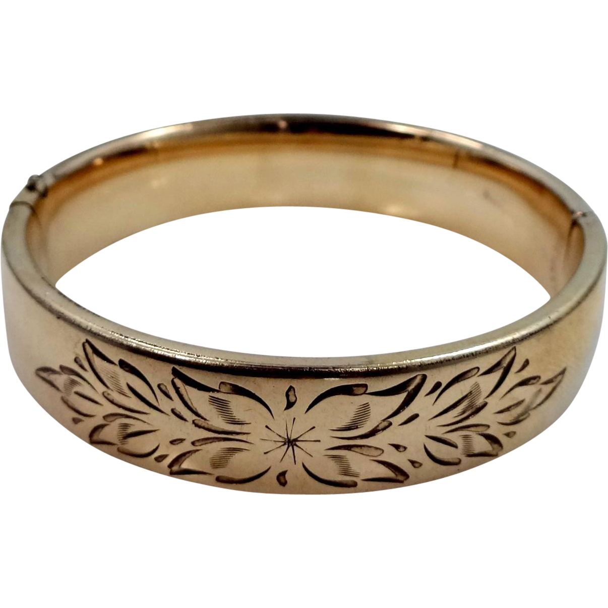 Vintage Gold Filled Craftmere Bangle Bracelet with Floral Etching
