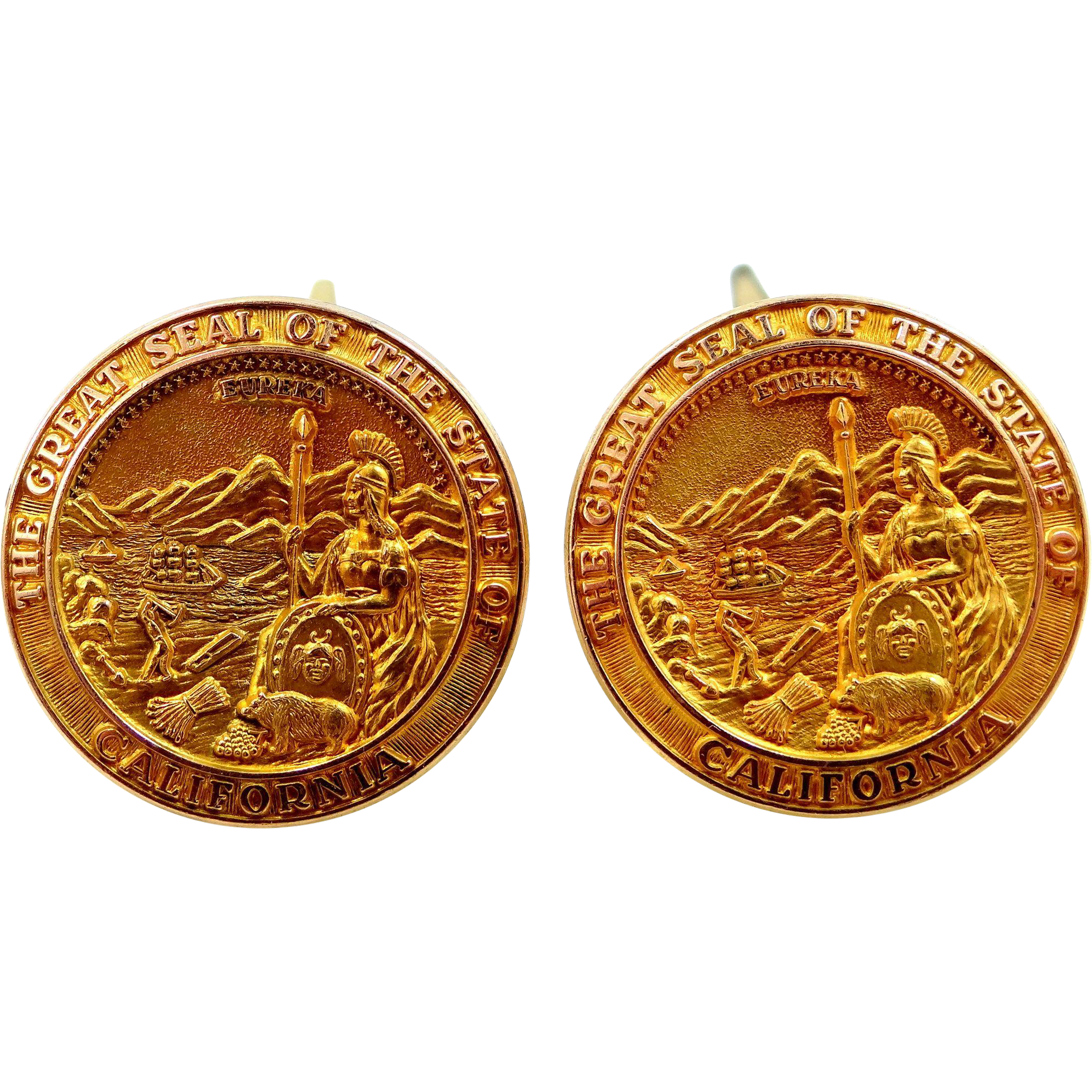 California State Seal Cufflinks Cuff Links Gold Filled