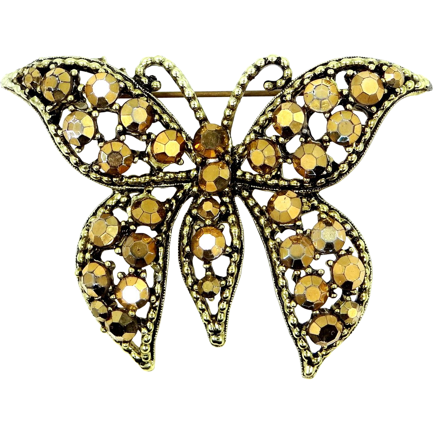Weiss Bronze Crystals Butterfly Pin