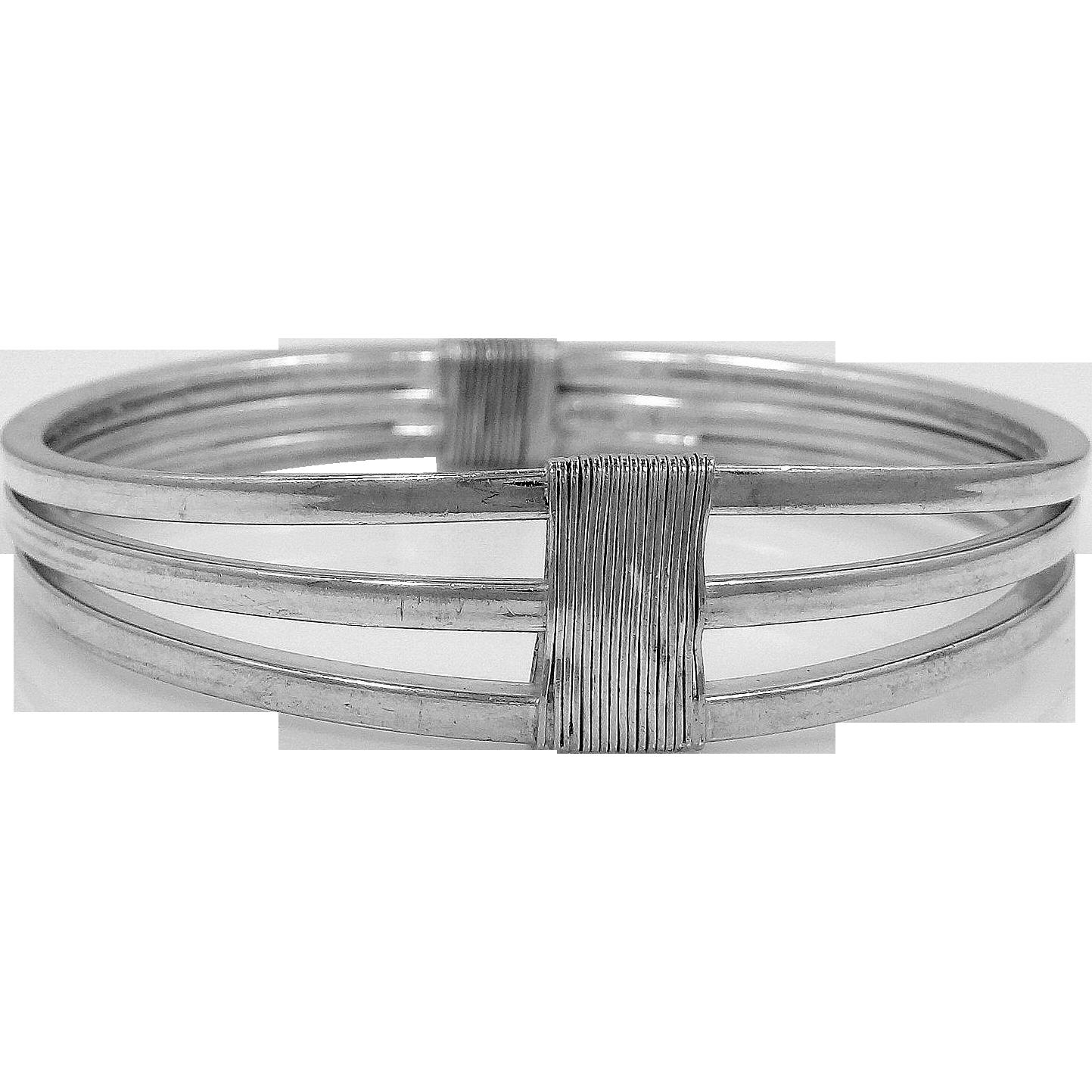 Vintage Sterling Silver Italy Bangle Bracelet