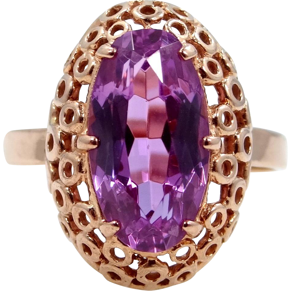 14k Rose Gold Amethyst Filigree Ring