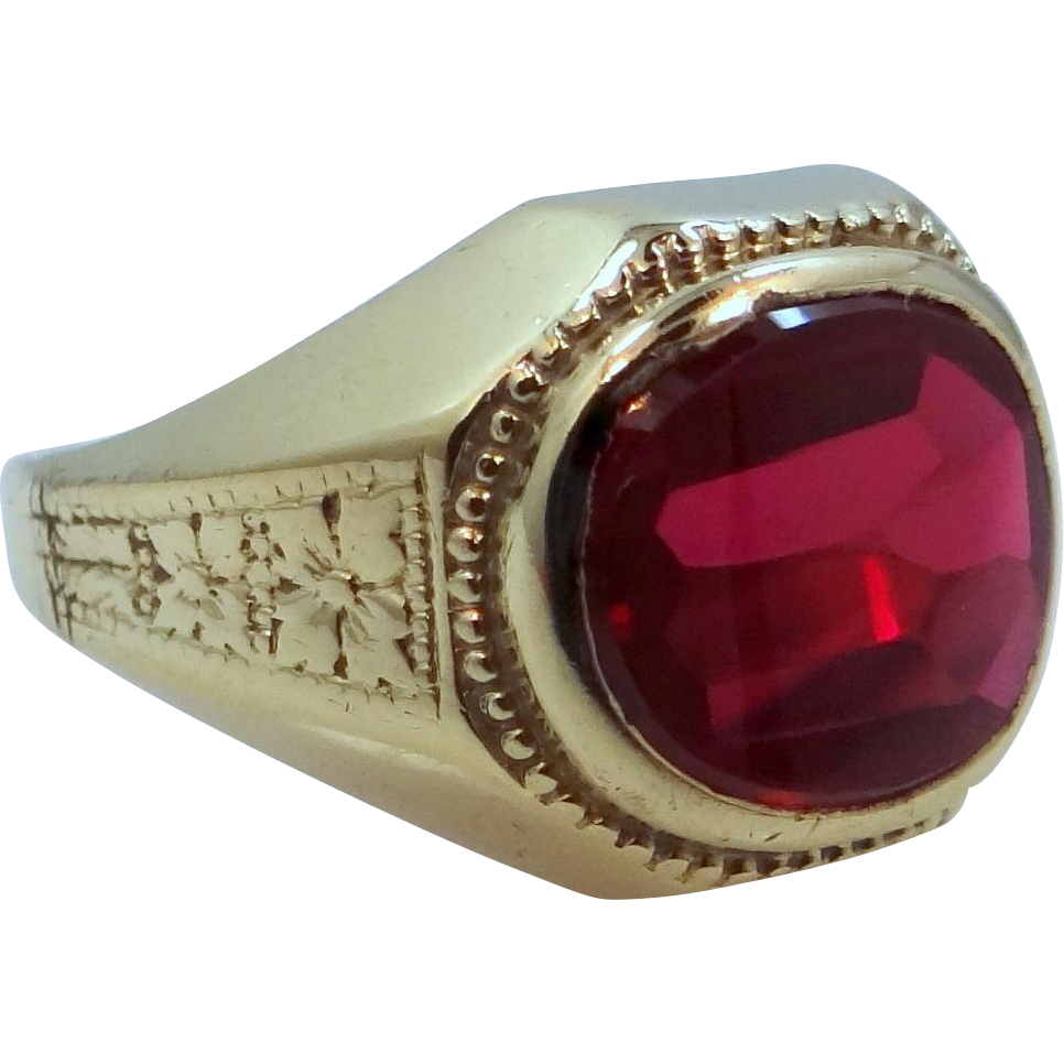 10k Gold Finely Etched with Floral Design Synthetic Ruby Ring