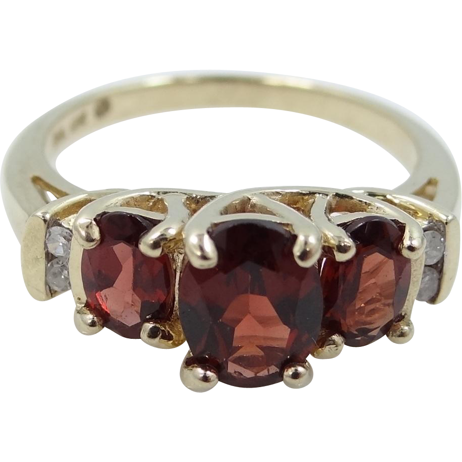 10k Gold Almandine Garnet and Diamonds Lady's Ring