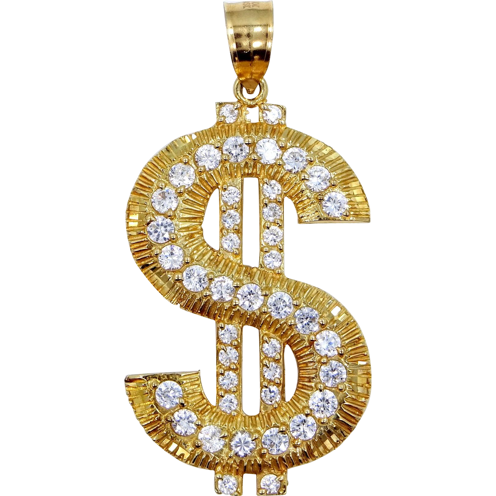 "Large 10k Gold Dollar Sign CZ Pendant 2 3/4"" Long $$$"