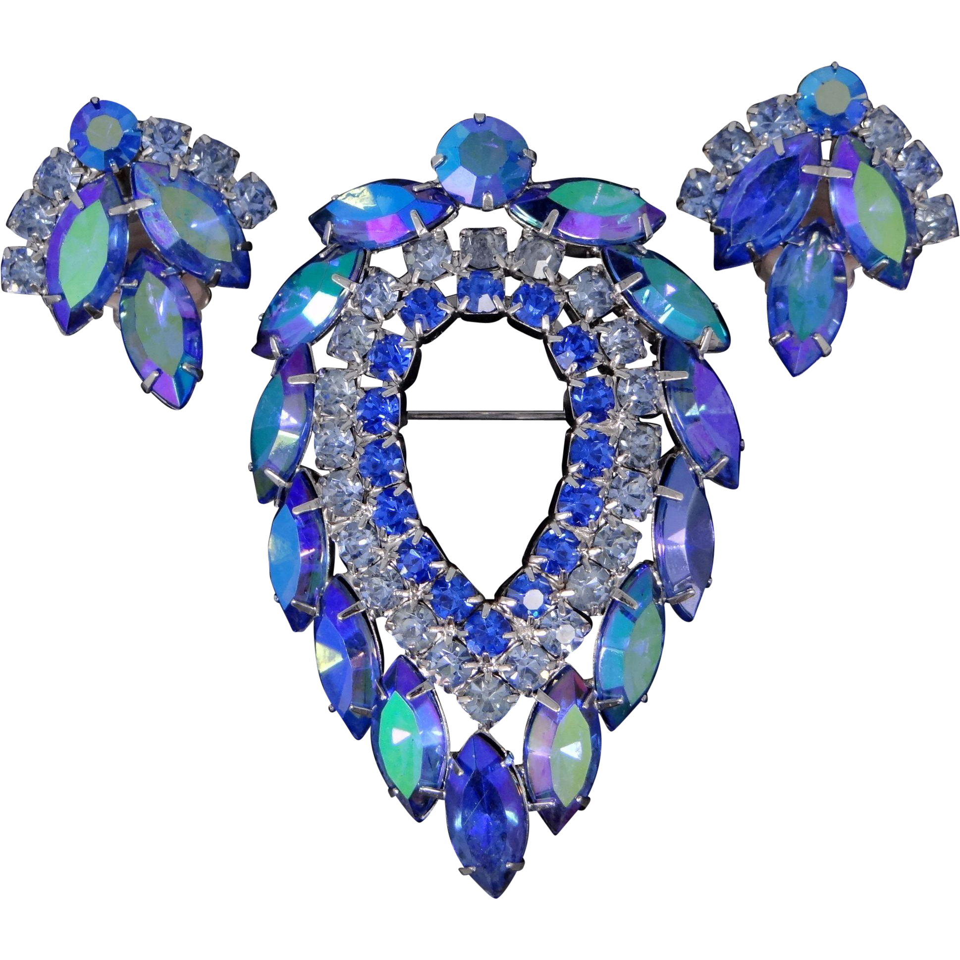 Juliana D&E Delizza Elster for Sarah Coventry Blue Lagoon Pin and Earrings Set