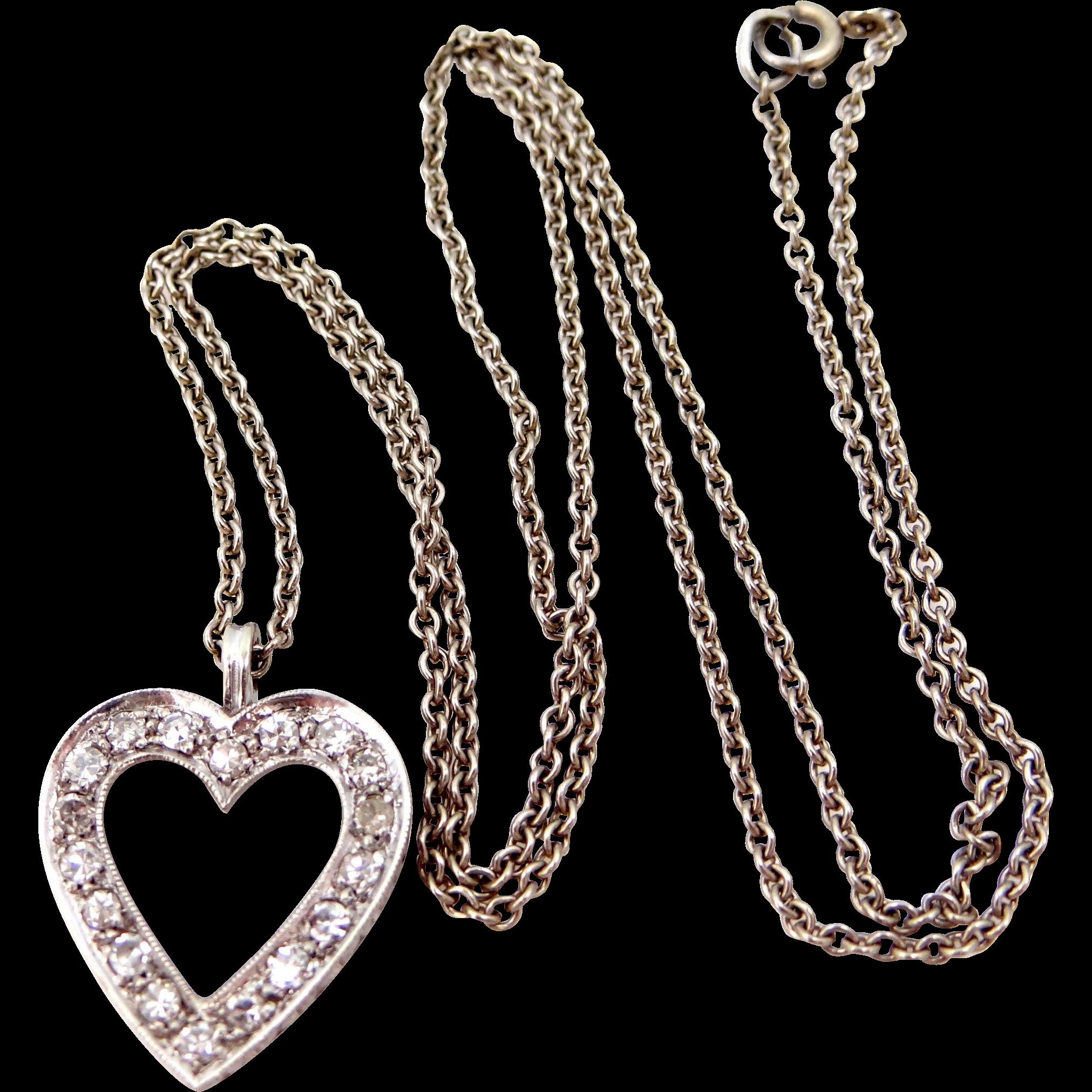 14k White Gold & Diamonds Heart Necklace