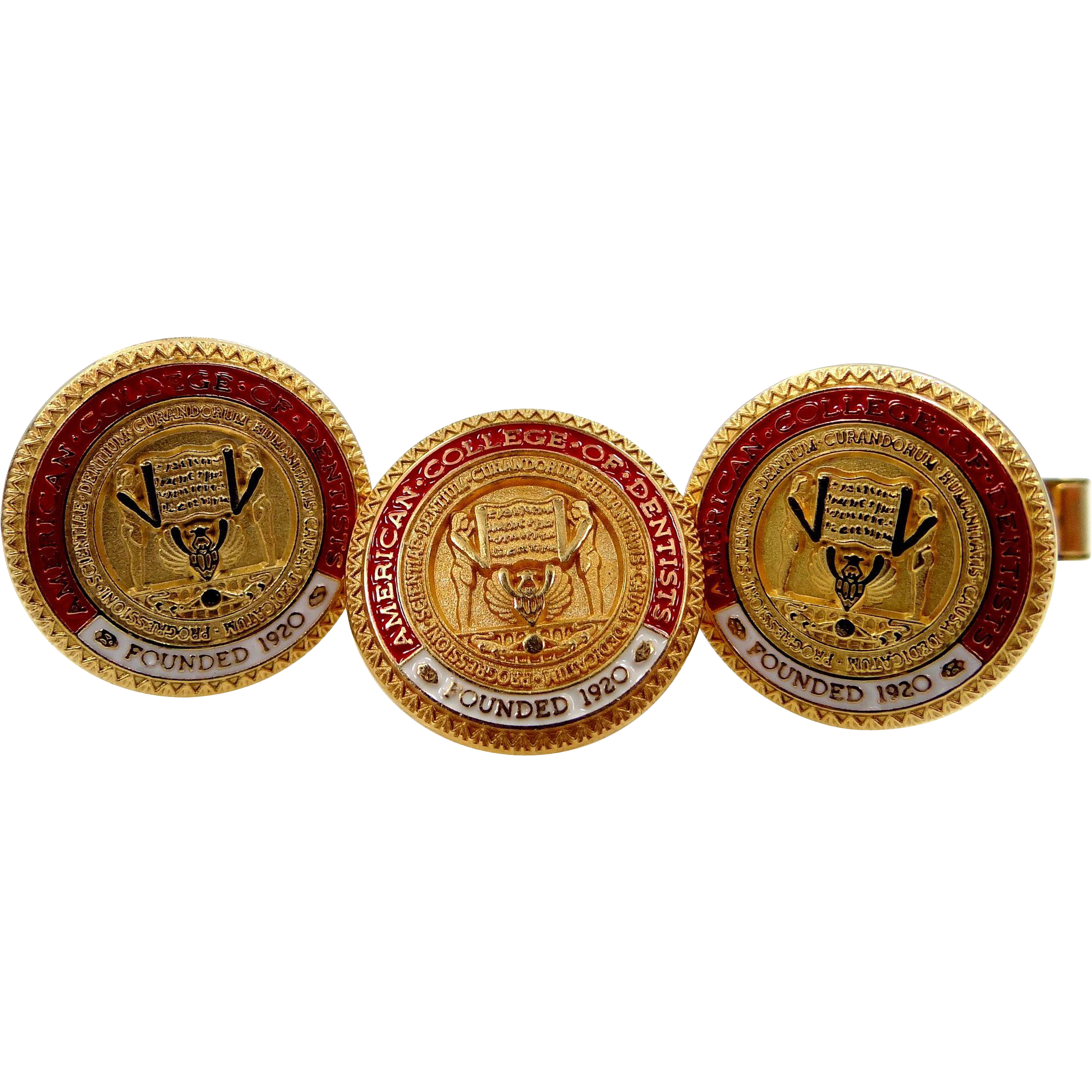 American College of Dentists 10k Gold and Gold Fld. Tie Tack & Cufflinks