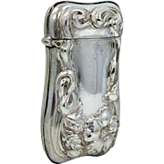 Signed G. Silver Art Nouveau Match Safe German Silver