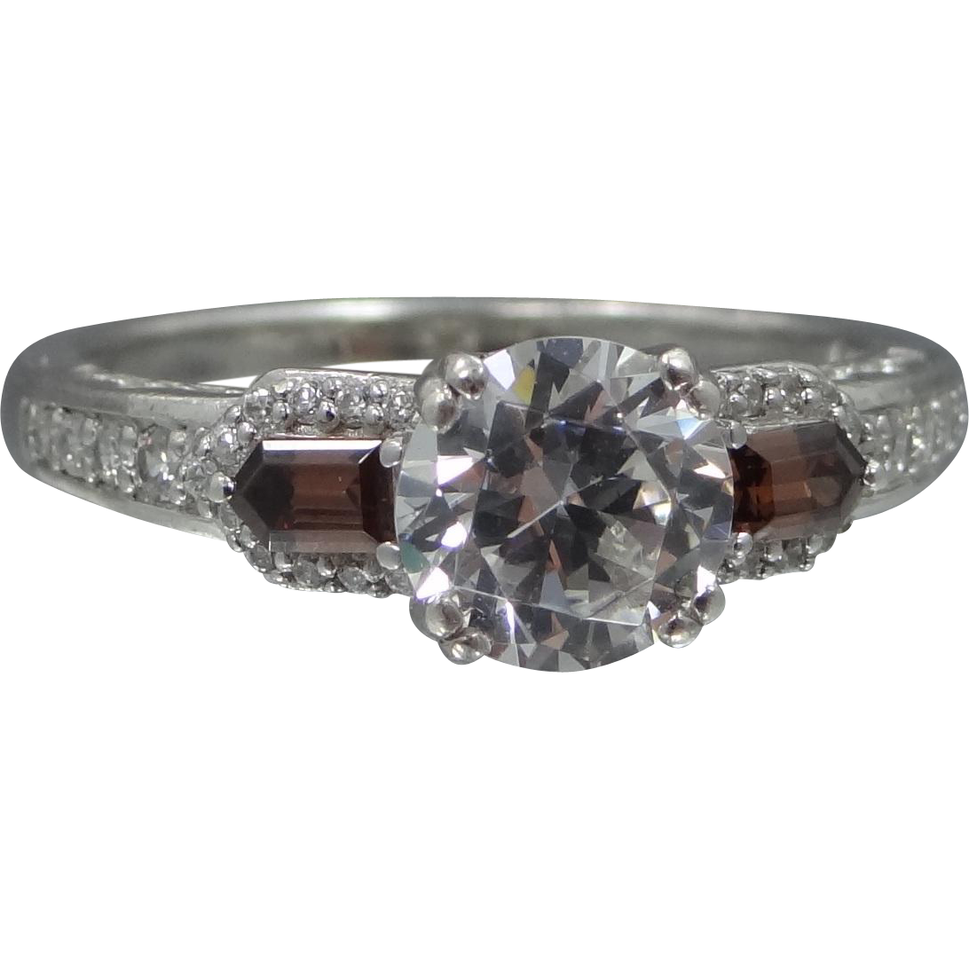 Beautiful Sterling Silver Ring with 1.5 Carat Solitaire & Faux Garnets Size 9 1/4
