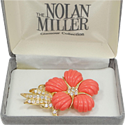 "Vintage Nolan Miller ""Coral Flower Pin"" with Faux Coral Petals and Original Box"