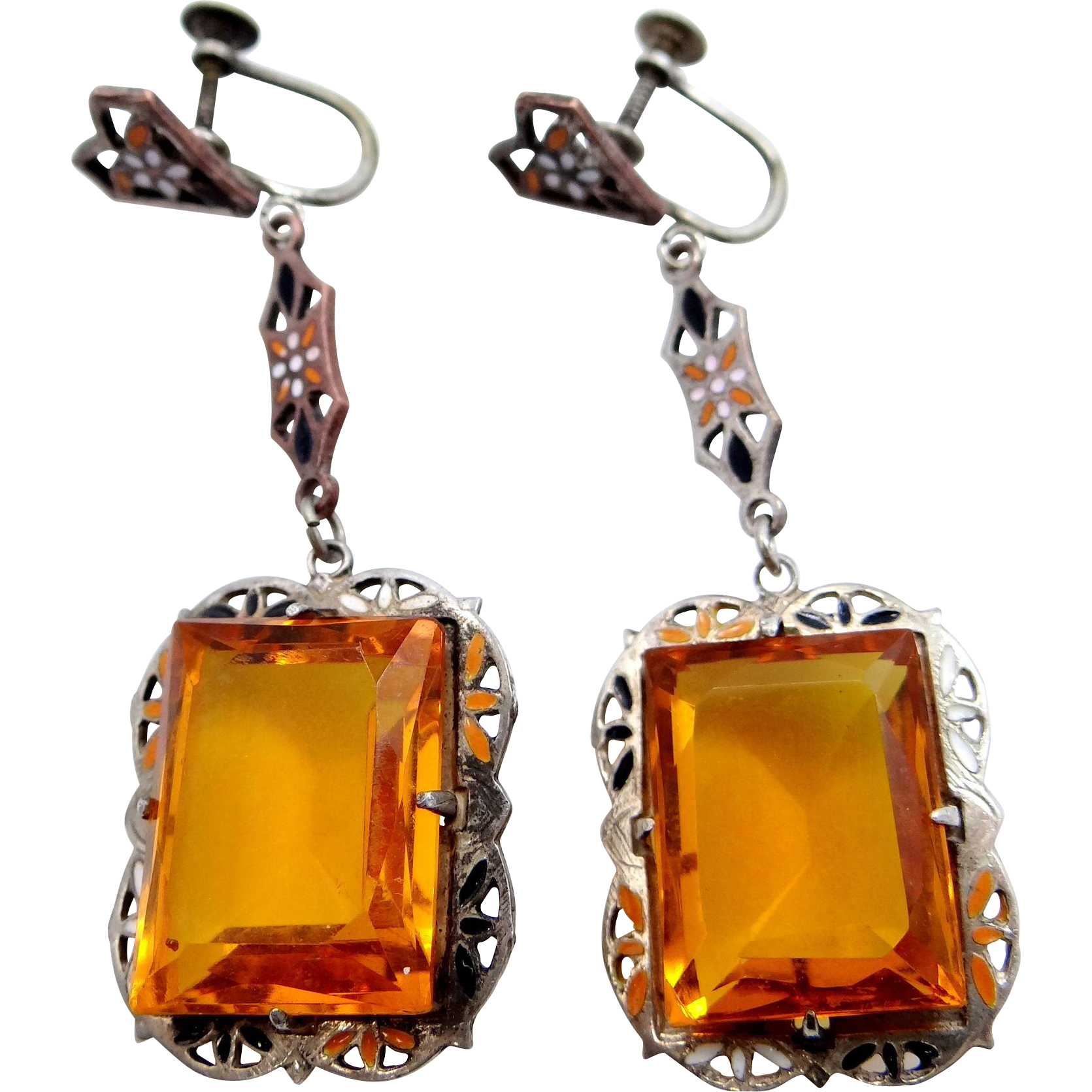 Art Deco Sterling Silver & Plated Brass and Topaz Glass Enamel Dangle Earrings
