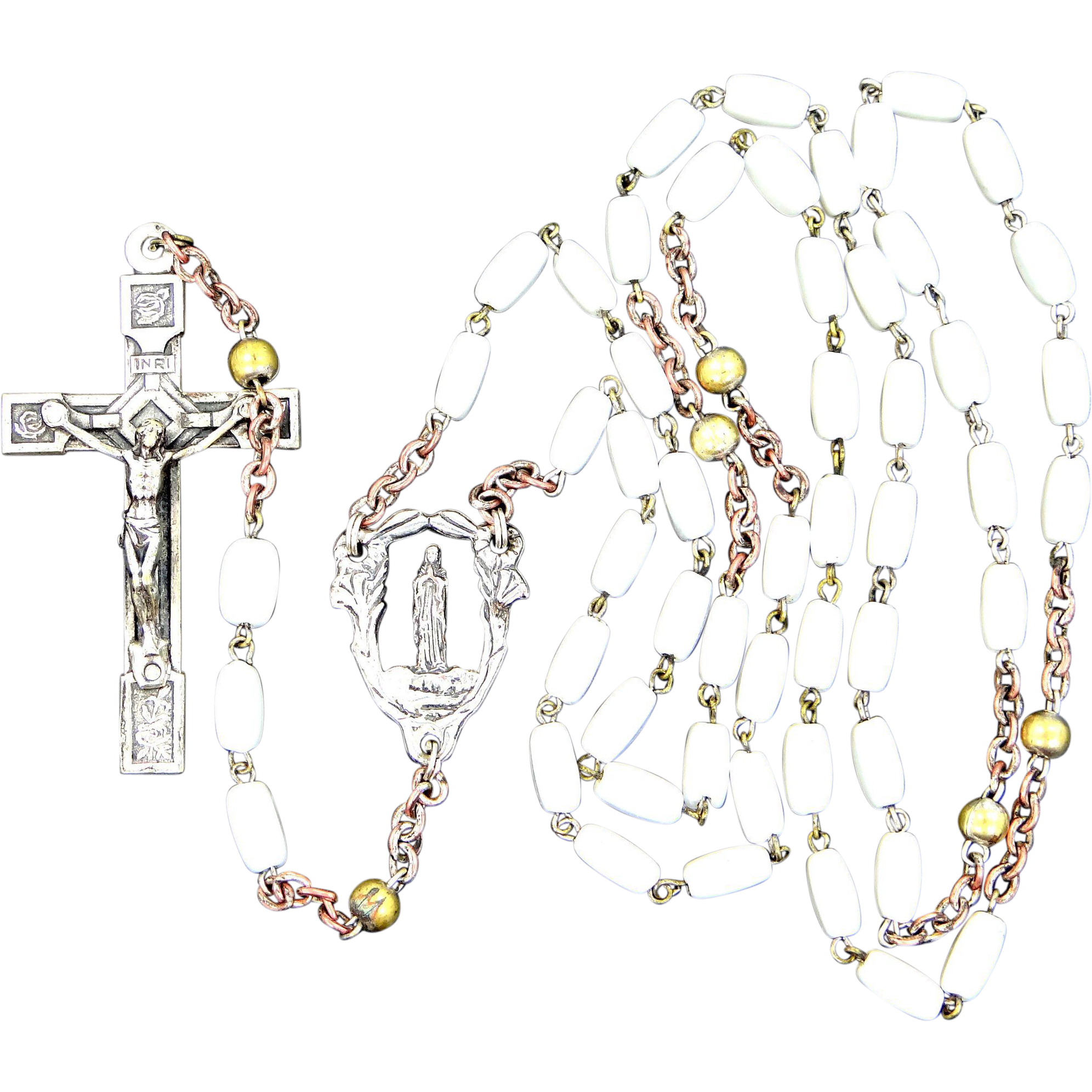 Vintage Milk Glass Reliquary Rosary